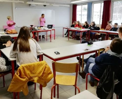 Photo intervention de l'association Aurélie au lycée Les Établières à La Roche Sur Yon